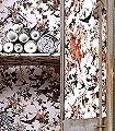 Hirondelles,-col.04-Blätter-Vögel-Florale-Muster-Rot-Braun-Creme-Hellbraun