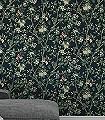 Ingrid-Maria,-col.-1-Blumen-Blätter-Äste-Früchte-Florale-Muster-Grün-Braun-Schwarz-Creme-Ocker