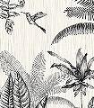 Ipanema-Panoramique-Blumen-Tiere-Bäume-Blätter-Vögel-Fauna-Florale-Muster-FotoTapeten-Anthrazit-Creme