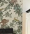 Jungle-Ape,-col.02-Tiere-Blätter-Fauna-FotoTapeten-Grün-Hellgrün-Creme-Ocker-Hellbraun