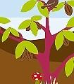 Kakao-&-Liebe,-col.-01-Tiere-Landschaft-KinderTapeten-Braun-Multicolor-Hellblau