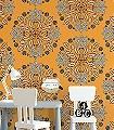 Kaleidoscope,-col.05-Ornamente-Blätter-Moderne-Muster-Orange-Schwarz-Weiß