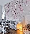 Kirschblüten-Blumen-Äste-Ranken-Florale-Muster-FotoTapeten-Rosa-Anthrazit-Weiß