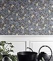 Kvitten,-col.-66-Blumen-Blätter-Äste-Früchte-Florale-Muster-Blau-Braun-Rosa