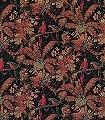 LA-GRANDE-VOLIERE-Blumen-Vögel-Stoff-Florale-Muster-Rot-Braun-Schwarz