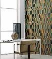 LIT-DE-PARADE,-Cuivre-boheme-Graphisch-Dreiecke-Moderne-Muster-Grafische-Muster-Grün-Blau-Ocker
