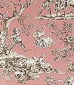 La-Musardiere,-saumon-Blumen-Tiere-Bäume-Landschaft-Blätter-Figuren-Toile-de-Jouy-Klassische-Muster-Fauna-Florale-Muster-Rosa-Anthrazit-Weiß