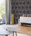 Laburnum,-teal-Blumen-Blätter-Florale-Muster