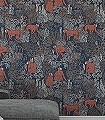 Langur,-col.-2-Tiere-Blätter-Äste-Fauna-Florale-Muster-Rot-Blau-Braun-Creme