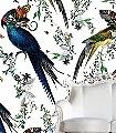 Lear-Gaukur-Blätter-Vögel-Fauna-Florale-Muster-Weiß-Multicolor