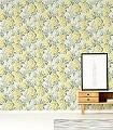 Lilac,-col.-3-Blumen-Blätter-Florale-Muster-Grün-Gelb-Creme-Hellblau