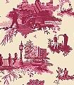 London-Toile,-red&pink-on-cream-Ornamente-Bäume-Figuren-Moderne-Muster-Rot-Creme-Pink