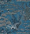 Lotus,-col.-500-Blumen-Tiere-Landschaft-Gewebe-Vögel-Stoff-Asia-Fauna-Florale-Muster-Blau-Anthrazit-Türkis-Weiß-Ocker