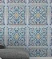 Lyrebird,-col.-1-Ornamente-Kachel-Vögel-Klassische-Muster-Fauna-Florale-Muster-Blau-Türkis-Hellgrün