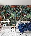 MANILLE-Bäume-Blätter-Florale-Muster-FotoTapeten-Grün-Braun-Orange-Türkis