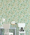 MILDRED-AQUA-Blumen-Blätter-Art-Deco-Gold-Grau-Türkis-Creme