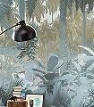 MISTY-JUNGLE-Blätter-Florale-Muster-FotoTapeten-Grün-Creme-Ocker