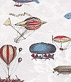 Macchine-Volanti,-col.-20-Wolken-Flugzeuge-Ballons-Moderne-Muster-Rot-Blau-Gold-Creme