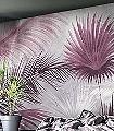 Macro-Miami-Blätter-Florale-Muster-FotoTapeten-Rot-Lila-Creme-Pink