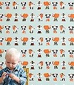 Marionette-Figuren-Kinder-KinderTapeten-Orange-Olive-Weiß