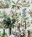 Martinique-Celadon-Tiere-Bäume-Landschaft-Figuren-Florale-Muster-Moderne-Muster-Multicolor