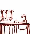 Meine-kleine-Wohnküche,-Küchenspüle-KinderTapeten-Rot