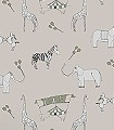 Merry-go-circus,-cream-and-green-Tiere-Fauna-KinderTapeten-Anthrazit-Olive-Creme-Hellbraun