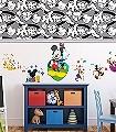 Mickeys-Handshake--Comic-KinderTapeten-Grau-Schwarz-Weiß