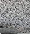 Monkey-Rock-Tiere-Blätter-Fauna-Moderne-Muster-Silber-Hellbraun