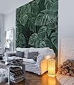 Monstera-on-Marble-Blätter-Florale-Muster-FotoTapeten-Grün-Schwarz