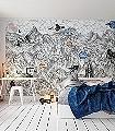 Moon-Rock-Kreise-Figuren-Berge-Moderne-Muster-FotoTapeten-Blau-Orange-Rosa-Anthrazit-Creme