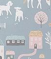 My-farm,-stone-blue-Blumen-Tiere-Bäume-Gebäude-KinderTapeten-Grün-Braun-Rosa-Weiß-Ocker-Hellblau