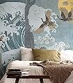 NAMI,-GREEN-Wellen-Tiere-Bäume-Strand-Vögel-Fauna-Florale-Muster-FotoTapeten-Gelb-Anthrazit-Creme-Hellblau-Hellbraun