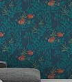 Nautilus,-col.09-Blätter-Unterwasserwelt-Fische-Fauna-Moderne-Muster-Grün-Ocker-petrol