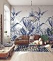 Only-blue-tropical-night-Blätter-Florale-Muster-Moderne-Muster-FotoTapeten-Blau