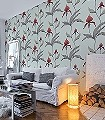 Orchid-No.-33-Blumen-Florale-Muster-Rot-Braun-Olive-Hellgrün