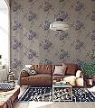Ostara-Blumen-Stoff-Florale-Muster-Lila-Anthrazit-Hellbraun