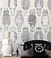 Owls-of-the-British-Isles-Tiere-Moderne-Muster-Schwarz-Weiß-Creme
