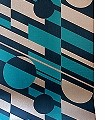 P.L.U.T.O,-Lido-&-Copper-Kreise-Quadrate/Rechtecke-Retro-Muster-Blau-Bronze-petrol