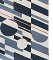 P.L.U.T.O,-Washed-Denim-&-Copper-Kreise-Quadrate/Rechtecke-Retro-Muster-Blau-Grau-Bronze