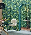 Palm-Jungle,-col.01-Blätter-Vintage-Tapeten-Florale-Muster-Grün-Blau
