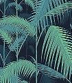 Palm-Jungle,-col.03-Blätter-Vintage-Tapeten-Florale-Muster-Grün-Schwarz-petrol