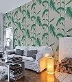 Palm-Leaves,-col-11-Blätter-Vintage-Tapeten-Moderne-Muster-Grün-Hellbraun