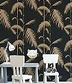 Palm-Leaves,-col-14-Blätter-Vintage-Tapeten-Moderne-Muster-Gold-Schwarz-Hellbraun
