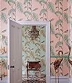 Palm-Leaves,-col.-5-Blätter-Vintage-Tapeten-Grün-Rosa
