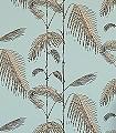 Palm-Leaves,-col.-6-Blätter-Vintage-Tapeten-Türkis-Schwarz-Ocker