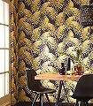 Paloma-Sun-Blätter-Florale-Muster-Gold-Gelb-Schwarz