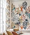 Panoramique-Artemis-Blumen-Bäume-Blätter-Fauna-Florale-Muster-FotoTapeten-Multicolor