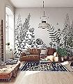 Panoramique-Eclosion,-black-and-cream-Blumen-Tiere-Blätter-Fauna-Florale-Muster-FotoTapeten-Schwarz-Creme