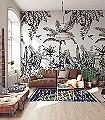 Panoramique-Ipanema,-black-and-cream-Blumen-Tiere-Bäume-Blätter-Vögel-Fauna-Florale-Muster-FotoTapeten-Schwarz-Creme